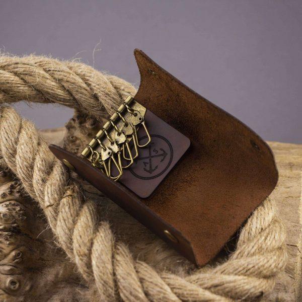 Skórzane etui na klucze 6 sztuk brązowy ręcznie robiony