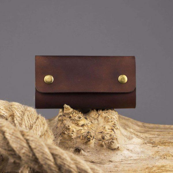 Etui skószane na klucze w kolorze brązowym na 6 kluczy - brown, handmade