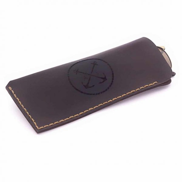 Leather men's case for glasses brown