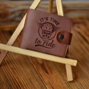 """Leather men's brown handmade wallet with engraving Skull """"It's time to ride"""" Stylish Gift For Biker Motorcycle Gifts Gift For Motorbike Lovers"""