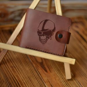 """Leather men's brown handmade wallet with engraving """"Skull With Glasses"""" Wallet with Skull Metal and Hard Rock Music Lovers Gifts Motorcycle Biker Gift"""
