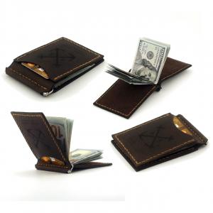 skórzany portfel z klipsem na banknoty brązowy ręcznie robiony handmade Brown Money Clip Wallet