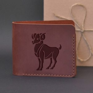 Men's leather wallet with engraving Aries. Handmade wallet, brown
