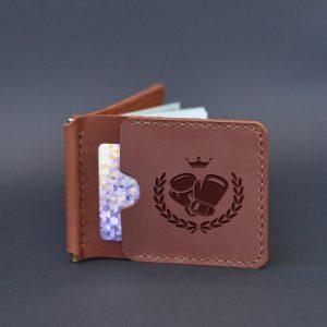 Portfel skórzany z klipsem na banknoty z grawerem Boks