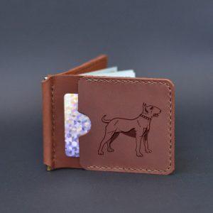 Portfel skóra z klipsem na banknoty z grawerem Pies Bull. Prezent dla miłośnika psów