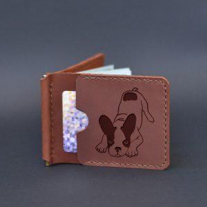 Portfel z klipsem na banknoty z grawerem Pies. Prezent dla miłośnika psów