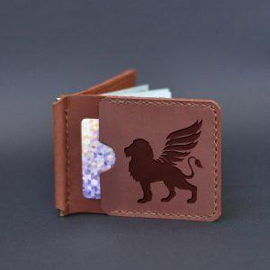 """Brązowy skórzany portfel męski z klipsem na pieniądze """"Lion Griffin"""""""