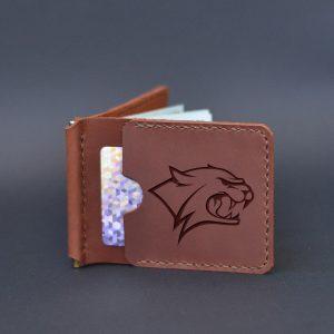 Brązowy skórzany portfel męski z klipsem na pieniądze Dziki kot