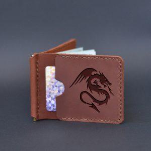 Portfel z klipsem na banknoty z grawerem Smok