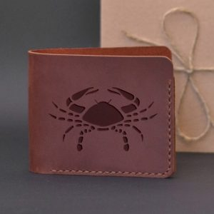 Men's leather wallet with engraving Cancer. Handmade wallet, brown
