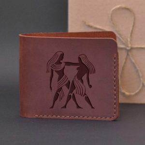 Men's leather wallet with engraving Gemini. Handmade wallet, brown
