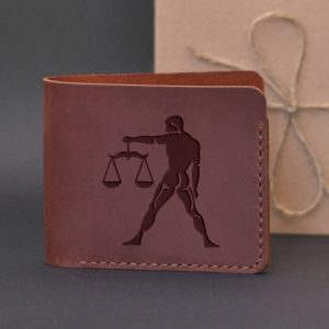Men's leather wallet with engraving Libra. Handmade wallet, brown