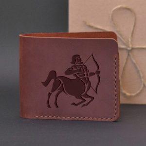 Men's leather wallet with engraving Sagittarius. Handmade wallet, brown