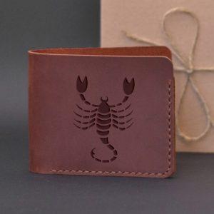 Men's leather wallet with engraving Scorpio. Handmade wallet, brown