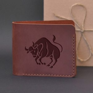 Men's leather wallet with engraving Taurus. Handmade wallet, brown