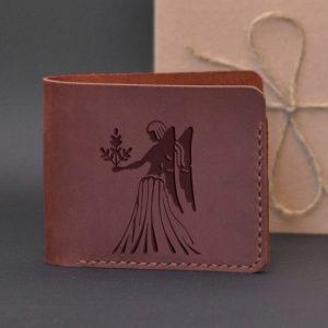 Men's leather wallet with engraving Virgo. Handmade wallet, brown