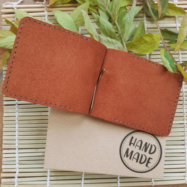 skórzany męski cienki portfel banknotówka ze skóry naturalnej rękodzieło