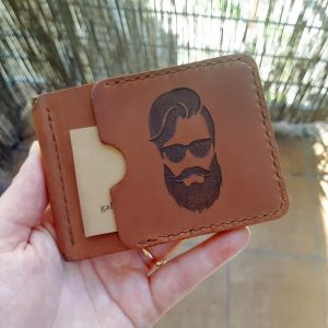 Prezent dla brodacza dla barbera portfel z klipsem na banknoty skórzany ręcznie robiony