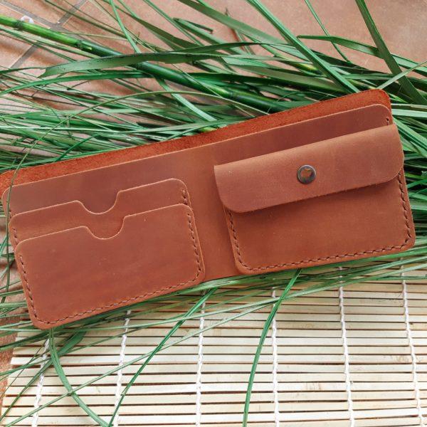 Portfel męski skórzany ręcznie robiony brązowy bilonówka handmade