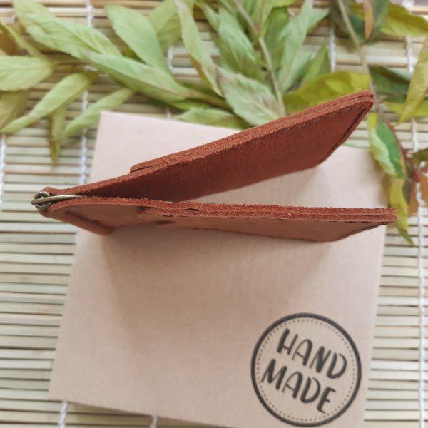 portfel z klipsem na banknoty skórzany brązowy