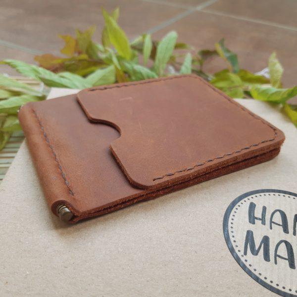 portfel z klipsem na banknoty skórzany brązowy ręcznie robiony handmade