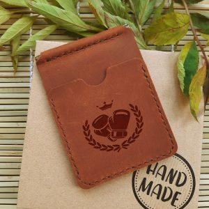 Portfel Prezent dla Bokserów - Skórzany ręcznie robiony portfel z klipsem na pieniądze. Grawerowanie laserowe Rękawice bokserskie i korona