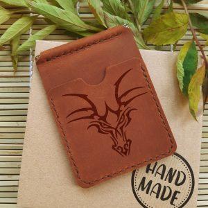 portfel z klipsem na banknoty skórzany brązowy ręcznie robiony