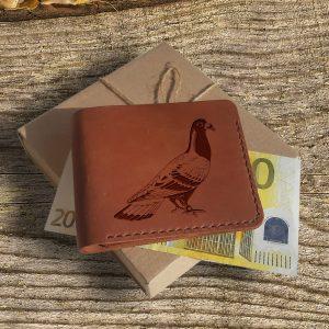 """Portfel męski skórzany ręcznie robiony z grawerem """"Gołąb"""" Prezent dla hodowcy gołębi Prezent dla gołębiarzy"""