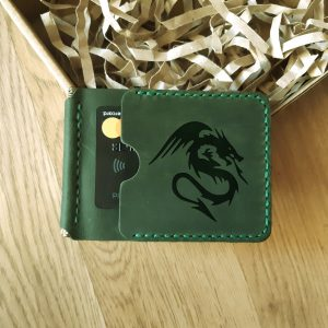 Anniversary Gift for Him engraved Wallet with money clip. Natural leather handmade slim wallet, dark green