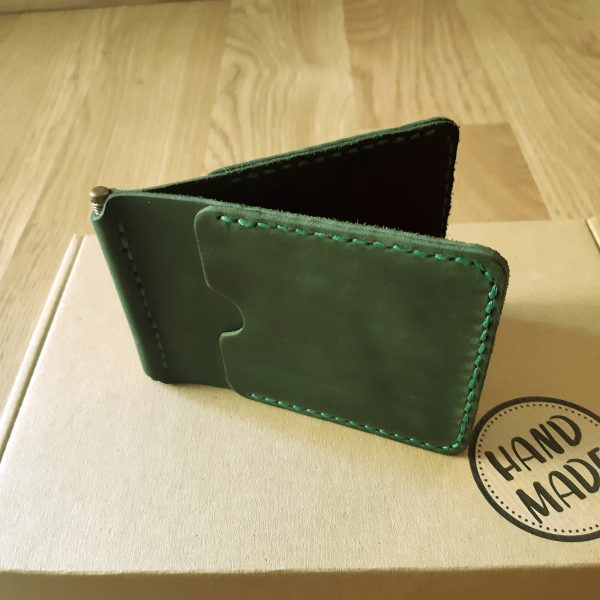 Anniversary Gift for Him engraved Wallet with money clip. Natural leather handmade wallet, dark green
