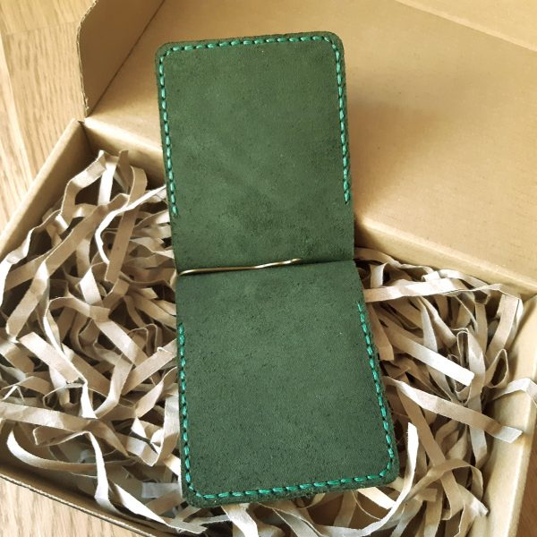 Anniversary Gift for Him engraved Wallet with money clip. Natural leather handmade small wallet, dark green