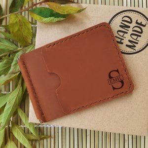 Portfel skórzany z inicjalami grawerowany cienki portfel na prezent dla niego