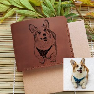 Laser engraved Pet photo wallet. Men's handmade leather wallet with coin pocket with photo of your dog