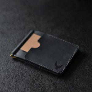 Skórzany męski portfel z klipsem na banknoty. Czarna ręcznie robiona banknotówka, skóra naturalna od Luniko