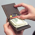 Leather wallet with money clip from Italian genuine brown leather is an original Christmas gift for your husband or son, brother or father.