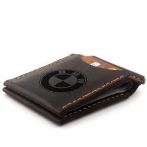Prezent dla właściciela auto bmwPortfel męski skórzany z klipsem na banknoty ręcznie robiony Banknotówka męska, brązowy. Prezent dla właściciela bmw